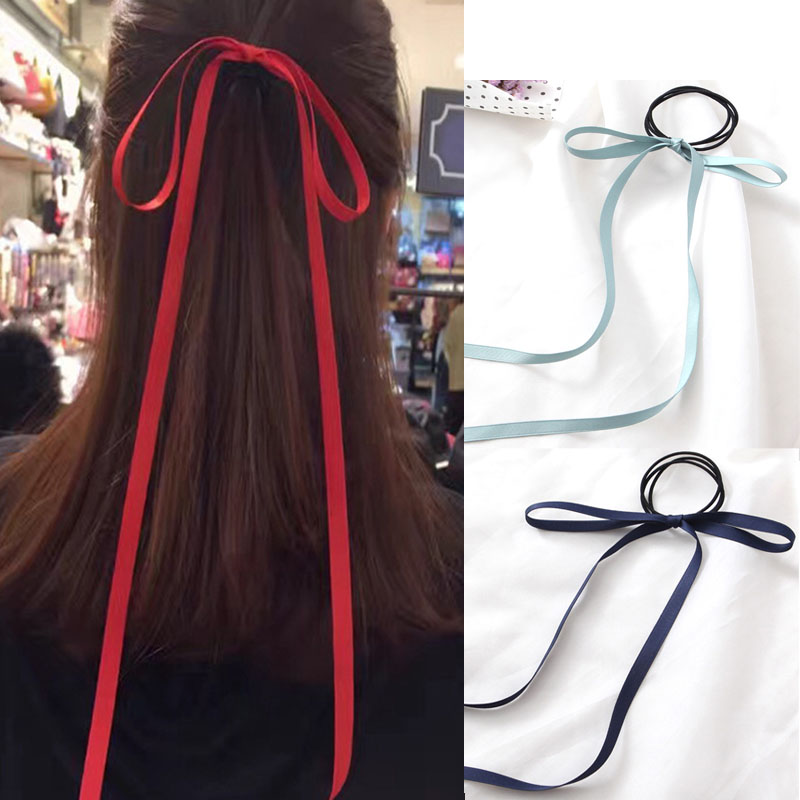 1PC Sale Sweet Colors Hair Rope Tie Long ribbon Bow Elastic Hair Bands streamers Women Girls Beach Hair Accessories