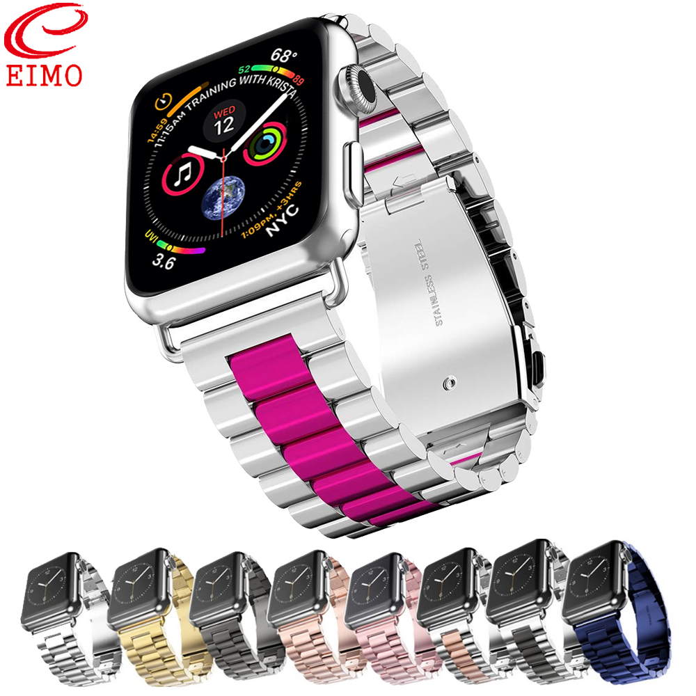 EIMO Strap Für Apple Uhr band 42mm 44mm Iwatch band 4 3 38mm 40mm Edelstahl link Armband Handgelenk Armband Serie 2 1