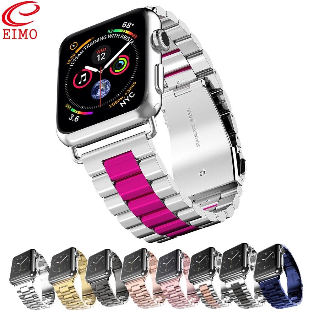 Elmo correa de reloj Apple Watch banda 4 42mm Iwatch banda 38mm 44mm 40mm correa de acero inoxidable pulsera de enlace de correa de accesorios