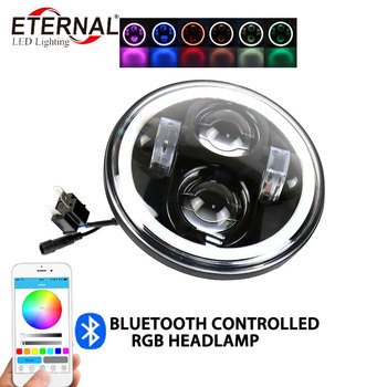 "free shipping 1x50W 5.75"" 5 3/4 inch RGB motorcycle led headlight with remote control for Harley davidson Honda 126cc-250cc"