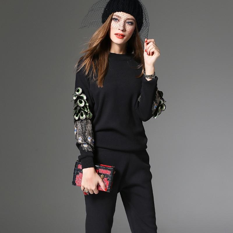 Chandail Mode Costumes Femmes Black Long Paon Pantalon Longues Casual Pièce Ladies2 Plume 2 Ensembles Automne Broderie Manches Printemps 7fr7Rq