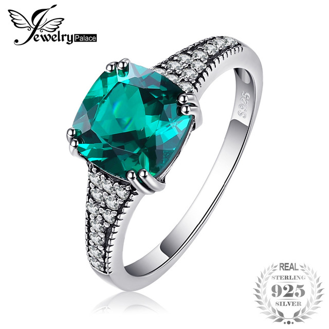 JewelryPalace Classic 2.3ct Cushion Nano Russian Simulated Emerald Ring 925 Ster