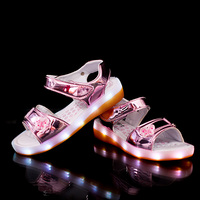 Kid Sandals Summer Butterfly USB Charging Led Girls Prince Sandals Pure Color PU Leather Kid Light Up Beach Sandal Pink Children