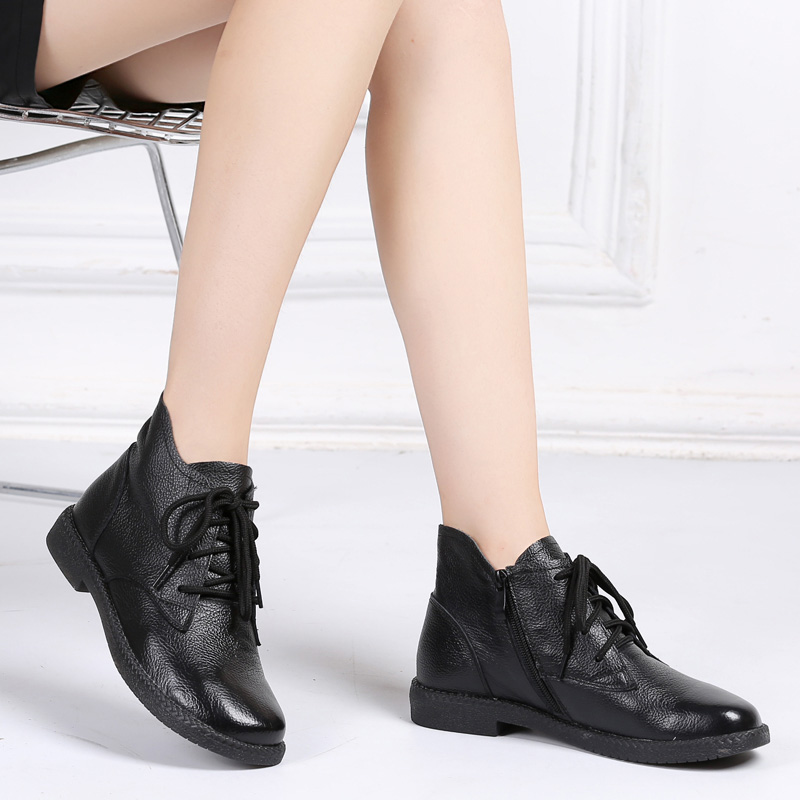 Image 5 - DRKANOL New 2019 Women Martin Boots Autumn Round Toe Genuine Leather Ankle Boots For Women Flats Short Boots Ladies Casual Shoes-in Ankle Boots from Shoes