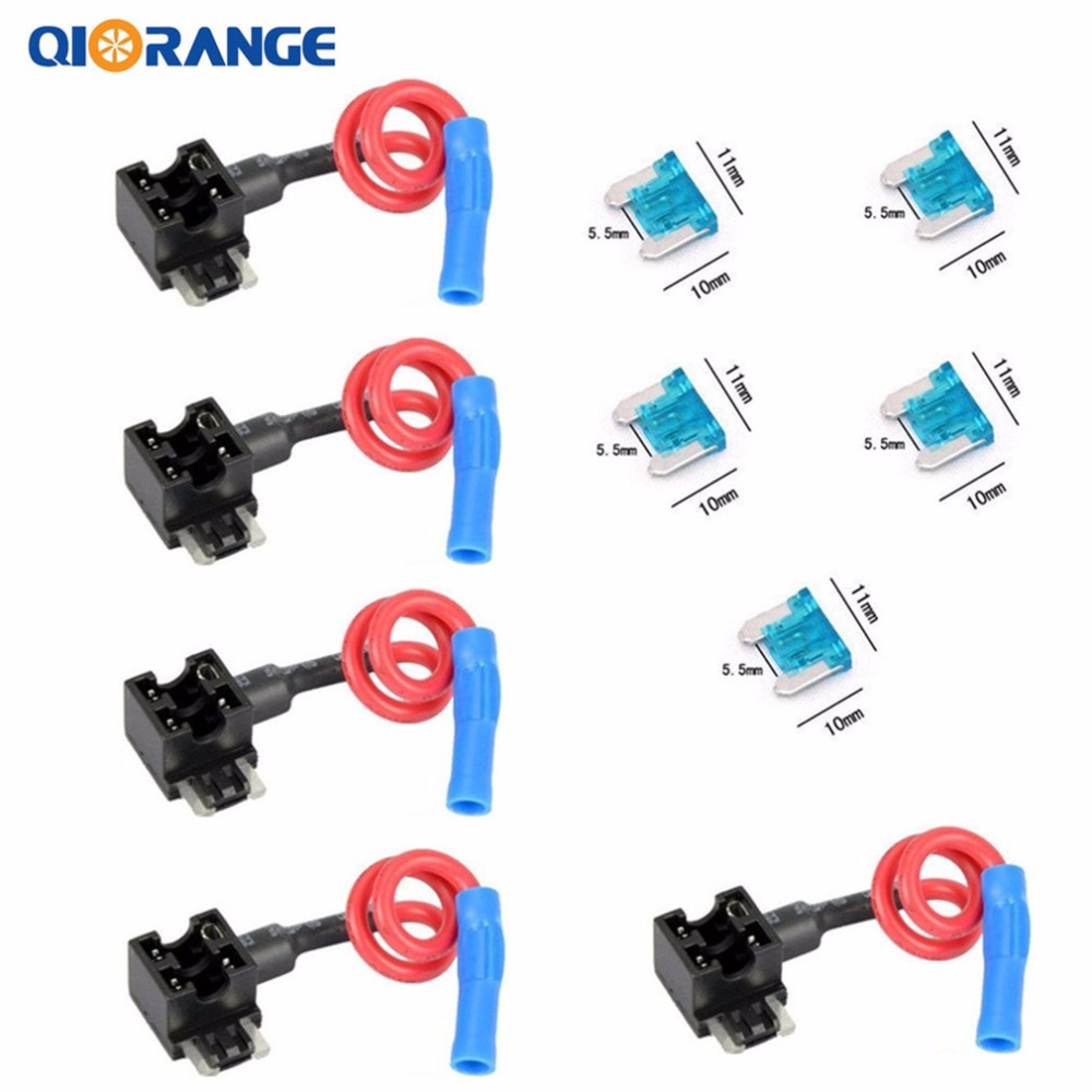 Qiorange 5 Pcs Acn Atm Tap Mini Add A Circuit Car Fuse Low Addacircuit Profile Blade Style Accessories In Fuses From Automobiles Motorcycles On