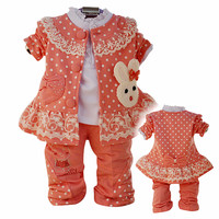 Anlencool 2019 Free shipping children spring three piece cotton lace rabbit baby clothing girls clothing set baby clothing