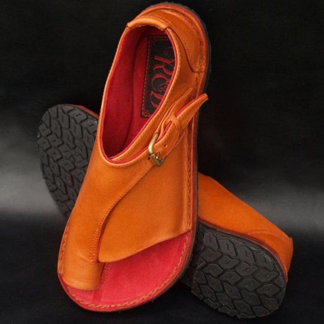 Women's Retro Buckle-Strap Leather Slip on Sandals