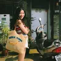 Beach holiday travel bag straw handbag