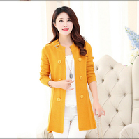 New Autumn 2015 Korea Knit Cardigan Sweater Coat Large Size Women Elegant Solid Color Slim Casual