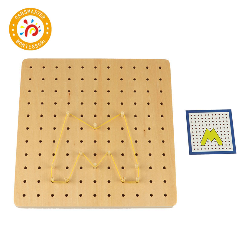 Montessori Kids Toy High Quality Creative Graphics Rubber Tie Nail Boards with Cards Education Preschool Studying