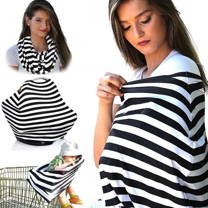 Nursing Breastfeeding Cover Scarf 100% Cotton Soft Breathable Baby Car Seat Canopy Strip ...