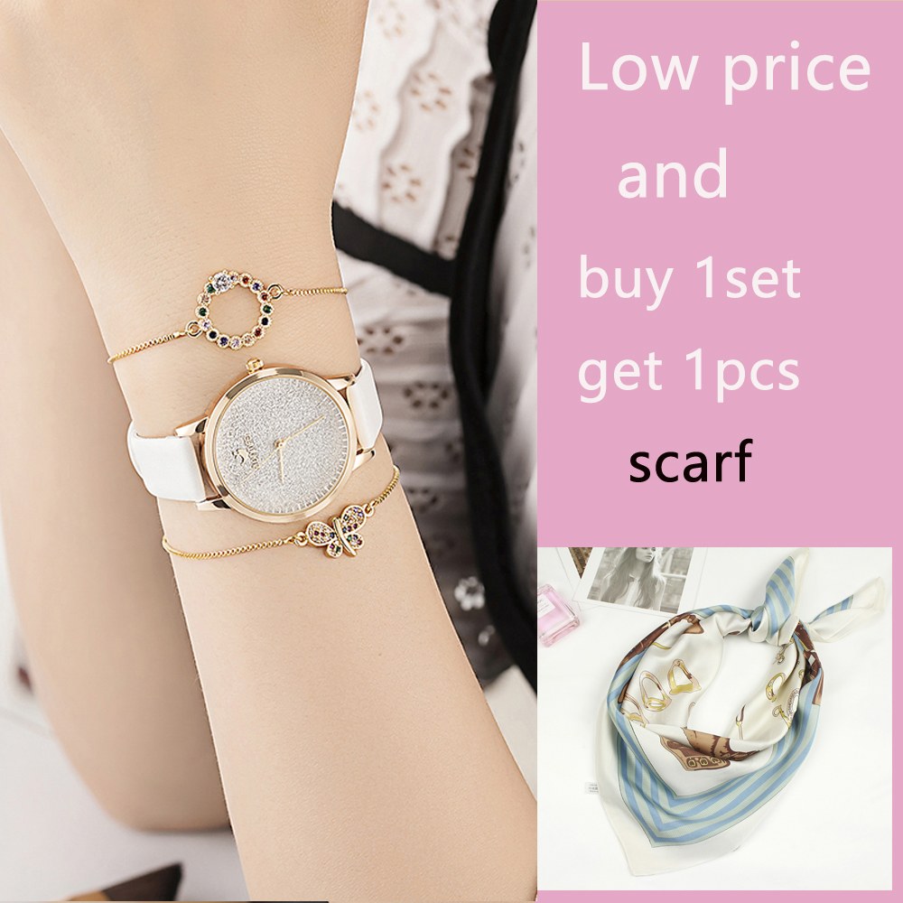 3PCS Watches Bracelet Sets Women's Cow Leather Star Wristwatches Fashion Colored rhinestones Bracelet Jewelry Watches Gift Box