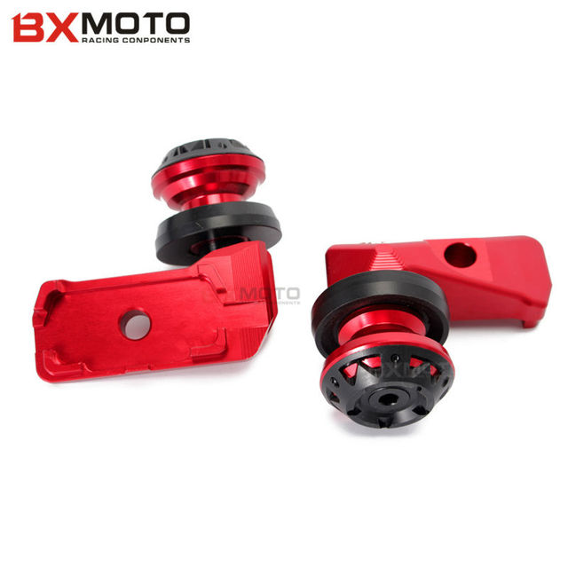 Motorcycle Accessories Red Rear Axle Spindle Chain Adjuster Blocks With Spool Sliders Kit For Yamaha Yzfr3 Yzf-r25 Mt03 Mt25