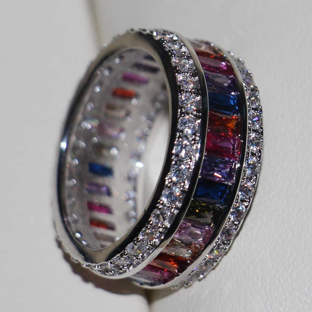 Größe 5-11 Antike schmuck Stunning 925 Silber Prinzessin choucong AAA CZ steine Hochzeit Engagement Frauen Band Ringe Mutter der Geschenk