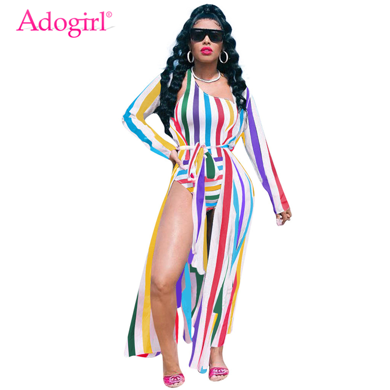 Adogirl Colorful Stripe Casual Summer Beach Two Piece Set One Shoulder Monokini Swimwear + Long Cardigan Cover Up With Belt