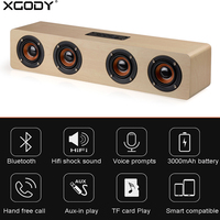 XGODY W8 Soundbar Wooden Speaker HIFI Stereo Subwoofer Music Center Speakers Caixa De Som Port til Bluetooth for TV PC Phone