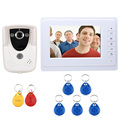 "Wholesale Wired Touch Key 7"" Video Door Phone Intercom System 1 RFID Keyfobs Doorbell Camera 1 Monitor FREE SHIPPING"