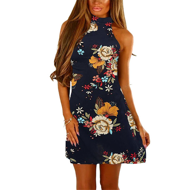 0a1f59652a Floral Print Bows Back Strapless Dress Summer Backless Strap Chic Party  Lace Up Halter Dresses Bohemian