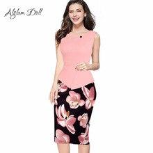 Alglam Doll One-Piece Women Print Patchwork Pencil Dress Knee-Length Slim Sheath Bodycon Office Ladies Work S-XXL Vestido Dress