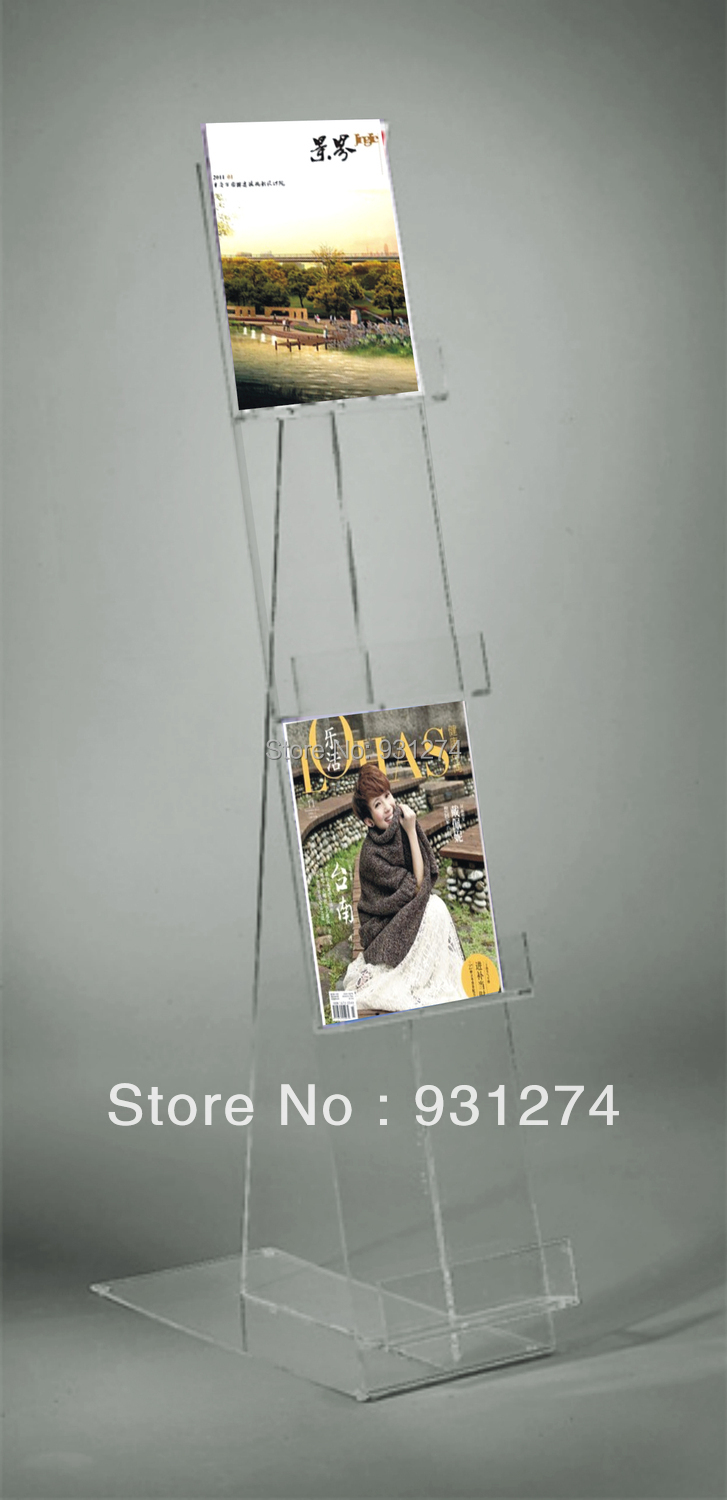 Floor Standing Clear Acrylic catalogue holder for office storage Brand brochure rack for ...