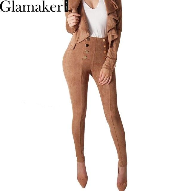 Glamaker Кнопку замши женские брюки и капри Тощий стрейч случайные высокой талии брюки Весна bodycon тонкий брюки