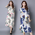 Pregnant Woman Dress Autumn Long Sleeve Floral Cotton Linen Maternity Clothes Retro Loose Casual Long Dresses CE311