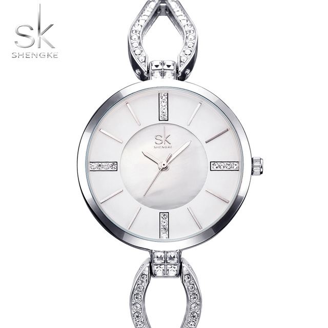 Shengke Unique Bracelet Watches Crystal Dial Woman Watches 2017 Brand Luxury Fas