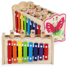 Classi Multi function toy Multifunctional Playing Hamster Game+Xylophone Childrens Wooden Toy Musical Instrument Xylophone Baby