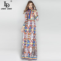 High Quality 2017 Autumn Fashion Runway Maxi Dress Long Sleeve Women Bow Collar Floral Print Elegant