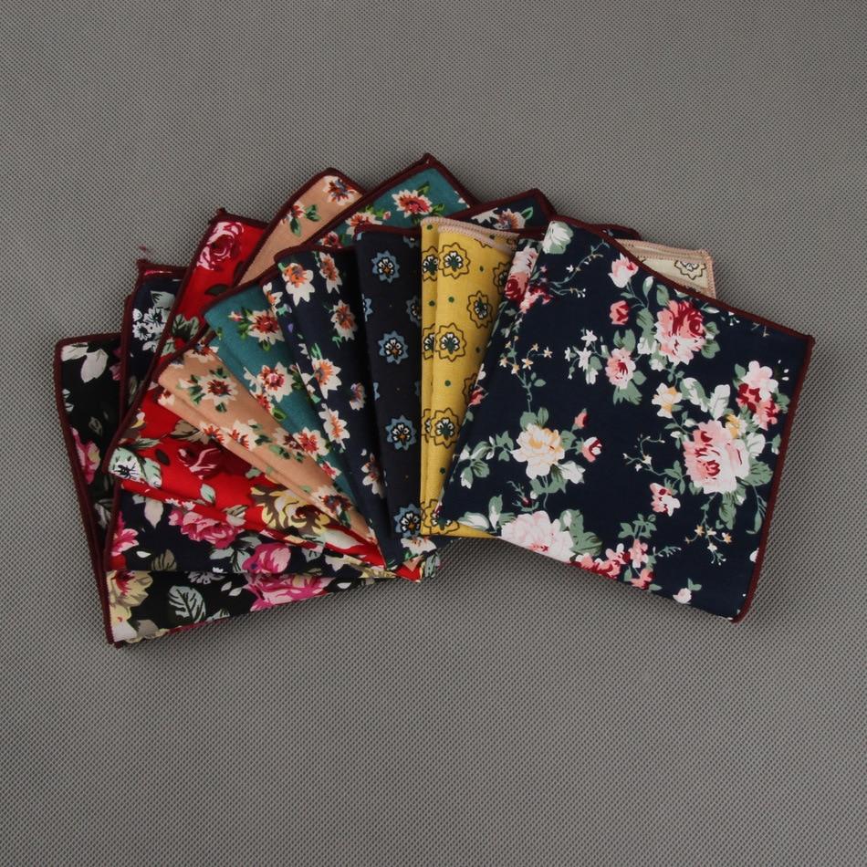 Pocket Square Wholesale  2016 Vintage Floral Cotton Polyester Hankies Handkerchief  Pochette Costume For Men Wedding Party
