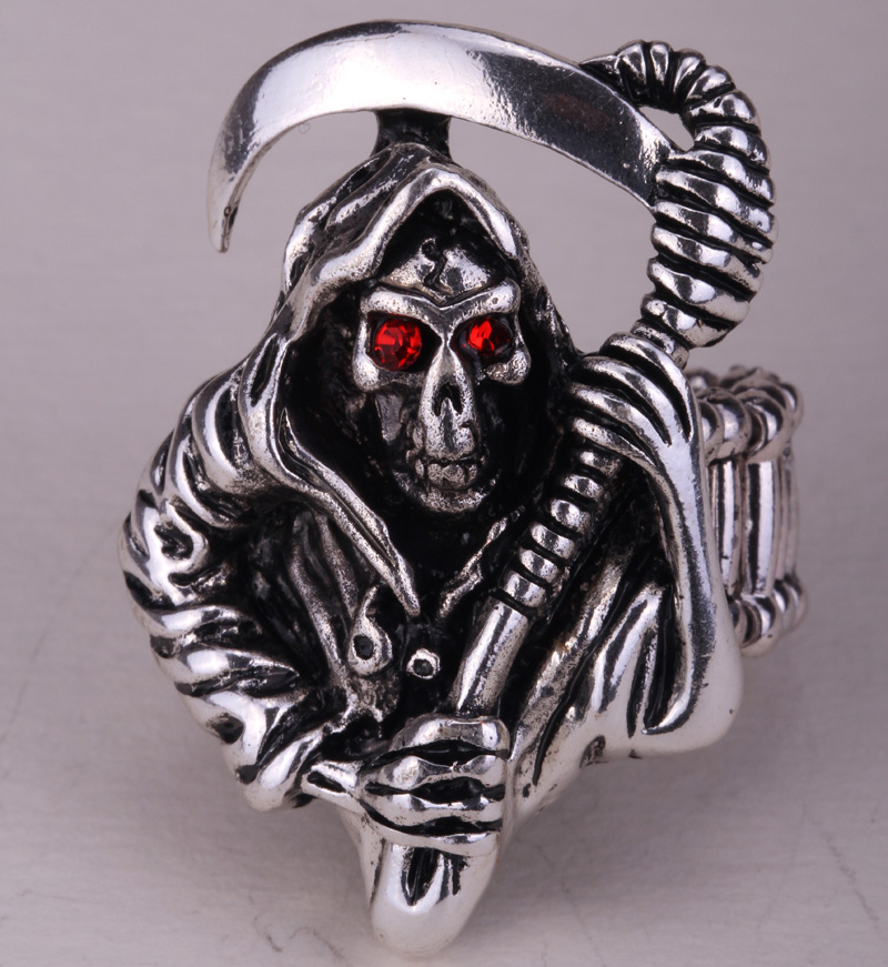 skeleton skull ring stretch biker jewelry