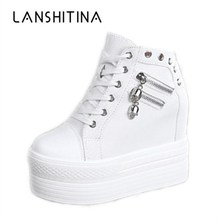 New 2018 Women Wedge Casual Shoes Zipper Height Increasing Breathable Women Autu