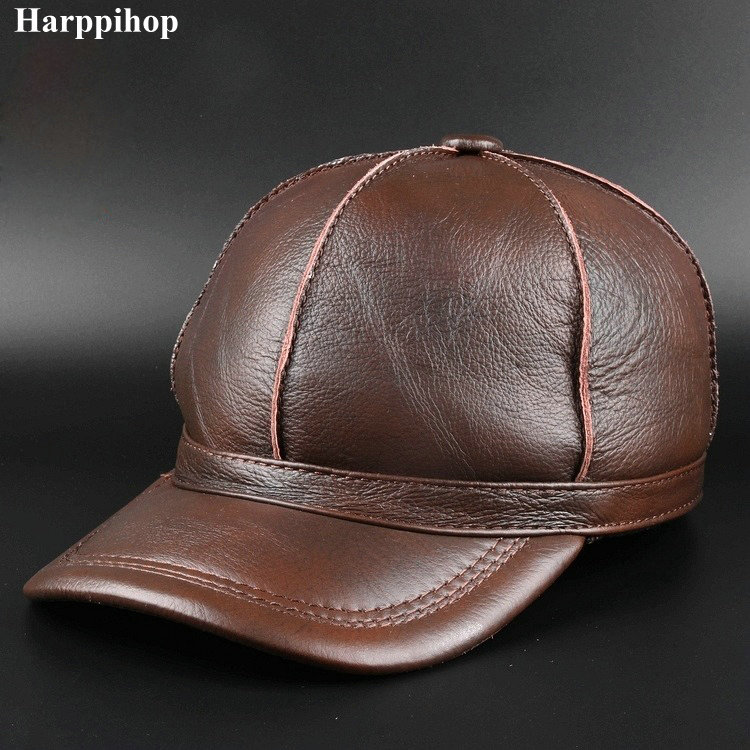 Black Women MEN Genuine Leather Baseball Cap Adjustable Casual Warm HAT Free Shipping real cowhide hats climate men women no logo brushed best heavy thick massy warm baseball caps twill sports active casual one size adjustable hat