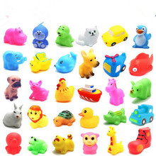 Cute Soft Rubber many animals Duck Float Squeeze Sound Baby Wash Bath Toys Play Animals Toys Kids Bath Toys