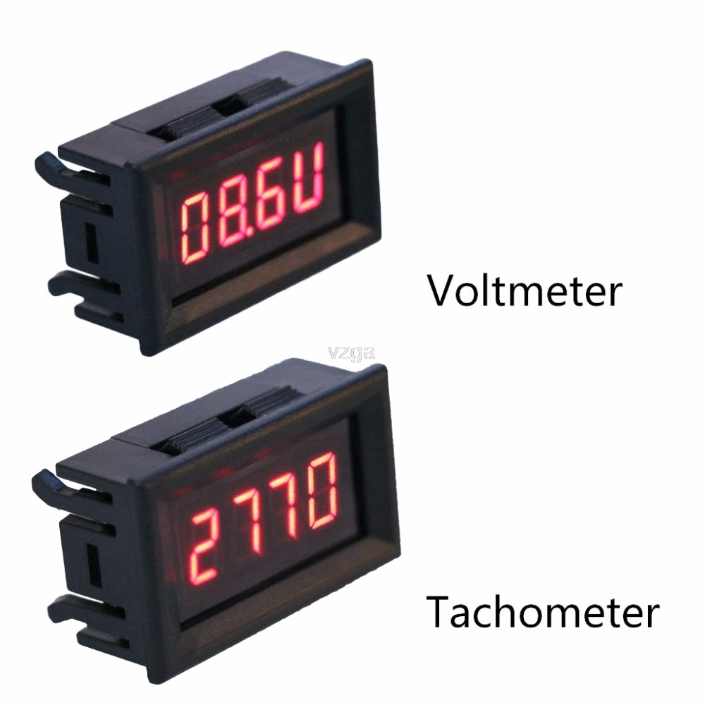 2 In 1 LED Tachometer Gauge Digital RPM Voltmeter For Auto Motor Rotating Speed MAY25 Dropship