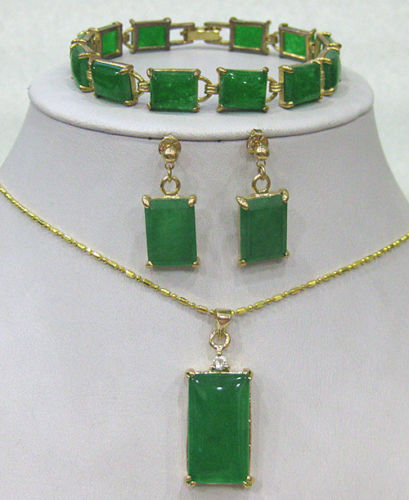 Wholesale price 16new ^^^^Green stone bracelet earrings Necklace Pendant Set AAA