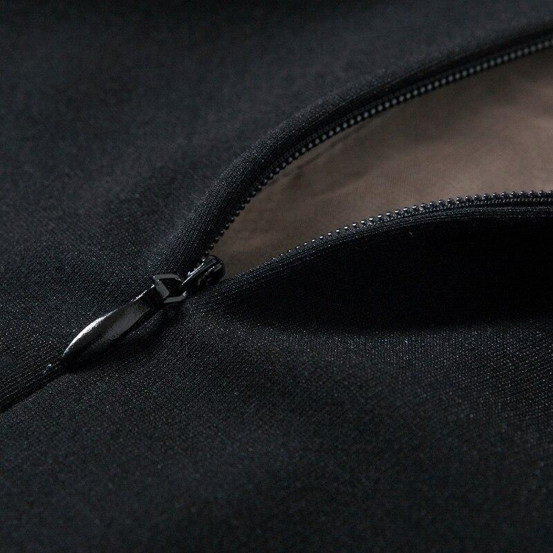 Longueur Manches O Dentelle 2017 De Noir Printemps Robe Patchwork Automne Flare Genou Féminine Mode cou Oversize Évider Femmes nCqq8OcXxw