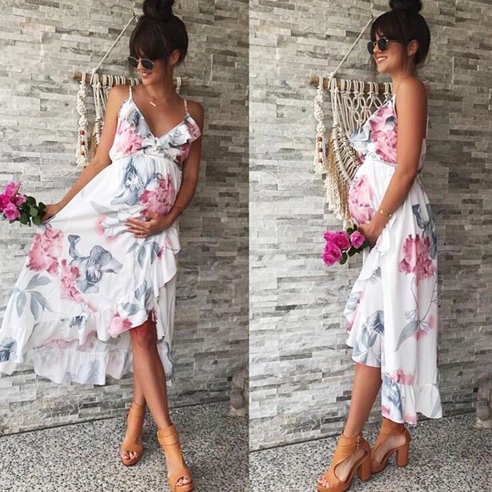 MUQGEW Fashion Womens Mother Casual Floral Falbala Pregnant Dress For Maternity Clothes Pregnant woman floral lotus leaf dresses