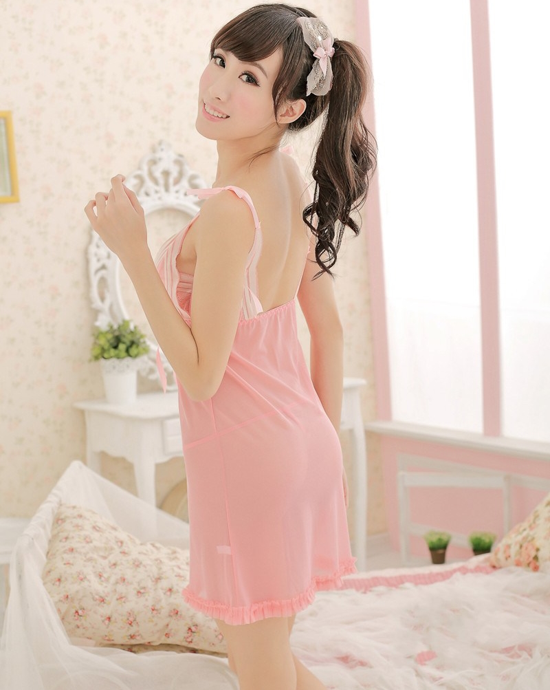 b3a2fe17e3 New Ladies Pink Sheer nighties night dress Sexy women lingerie lace see  through sleepwear-in Nightgowns   Sleepshirts from Underwear   Sleepwears  on ...