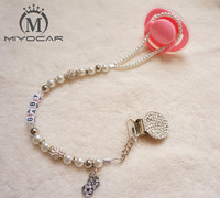 MIYOCAR Personalised Any Name Colourful Bling Bling Pacifier Clips Soother Chain Holder Dummy Clip Teethers Clip