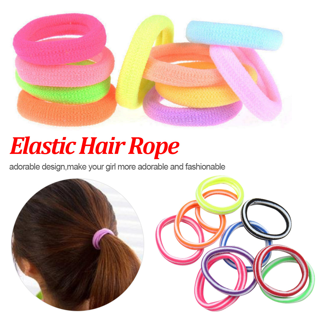 Shipped from US JPOQW 50pcs Hair Band Great Elasticity Solid Headwear DIY Accessories for Children Girls