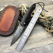 Damascus Steel folding knives portable style cool pocket dyu rosewood handle key chain knife EDC tool camping survival knife(China)