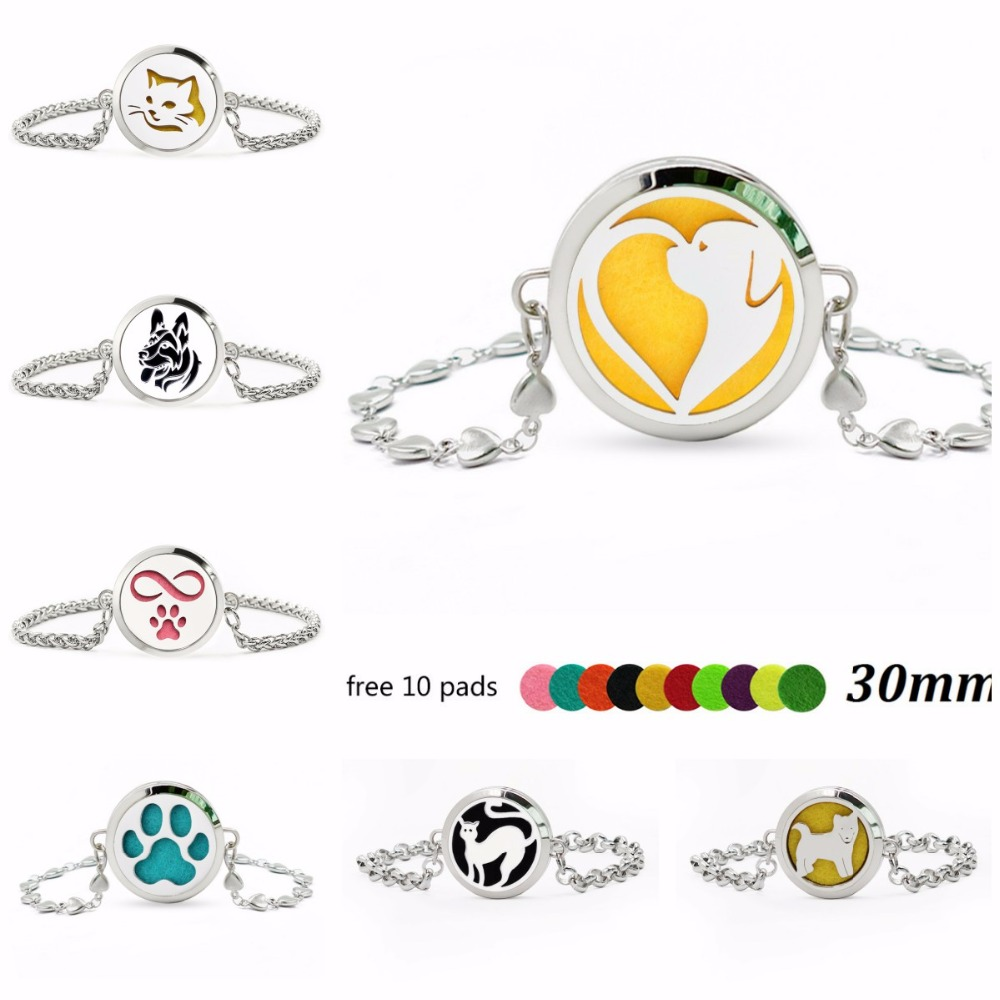 Dog and Cat Charms Bracelet Essential Oil Diffuser Locket (Free 10Pads) Jewelry Silver Chain Link Bracelets for Women Girl Gift Ювелирное изделие