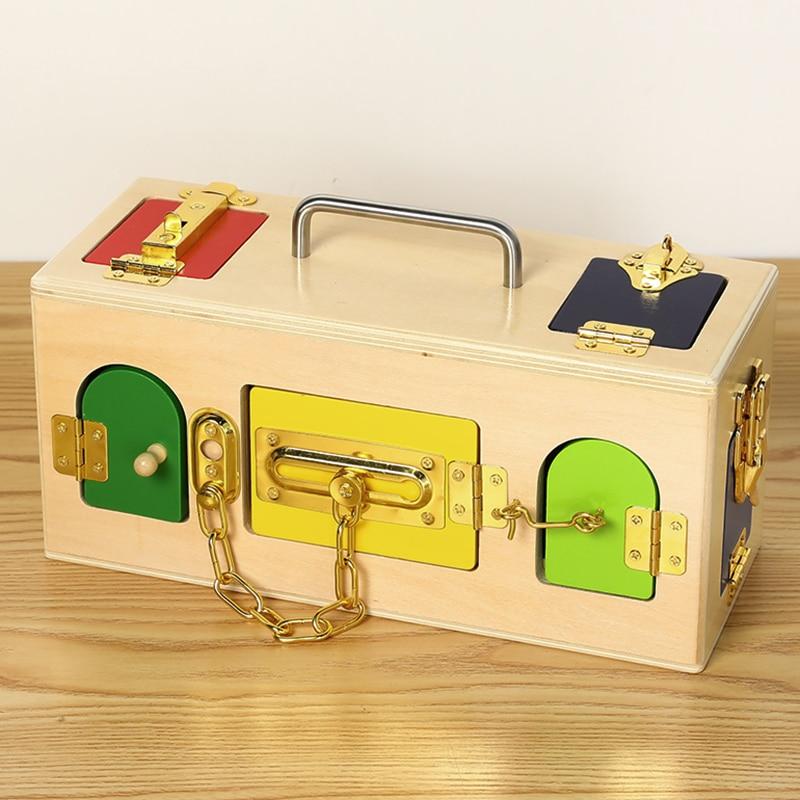 Montessori en bois pour enfants petite boîte de verrouillage matériaux pratiques éducation de la petite enfance petite boîte de verrouillage bambin jouets de déverrouillage - 3