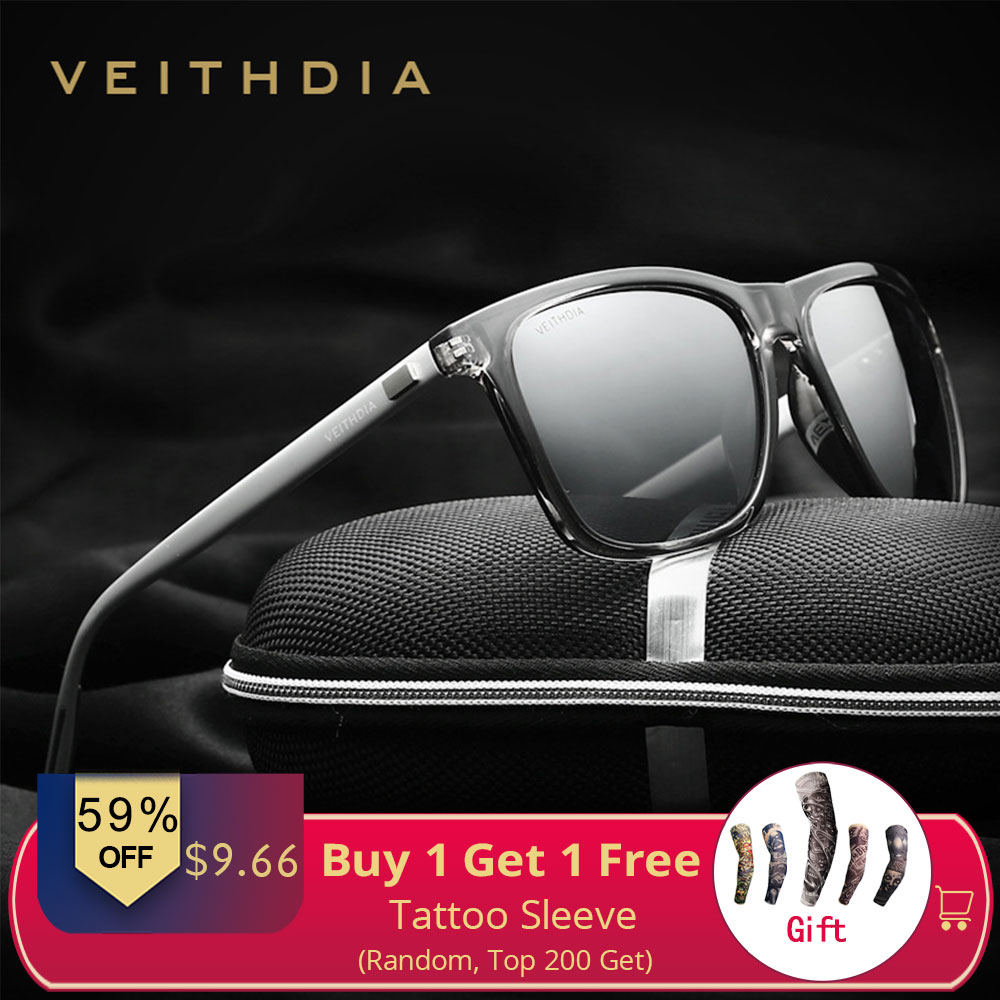 VEITHDIA Brand Uni Retro Aluminum+TR90 Sunglasses Polarized Lens Vintage Eyewear Accessories Sun Glasses For Men/Women 6108