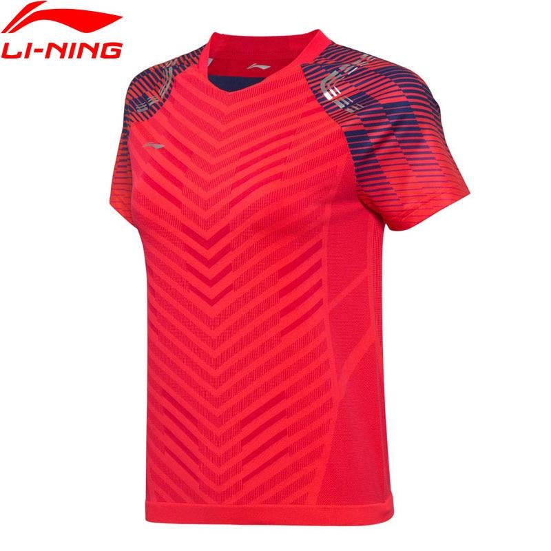 T-Shirt de Badminton femme li-ning T-Shirt de compétition de l'équipe nationale à doublure sans couture sèche hauts de sport respirants AAYN002 WTS1370