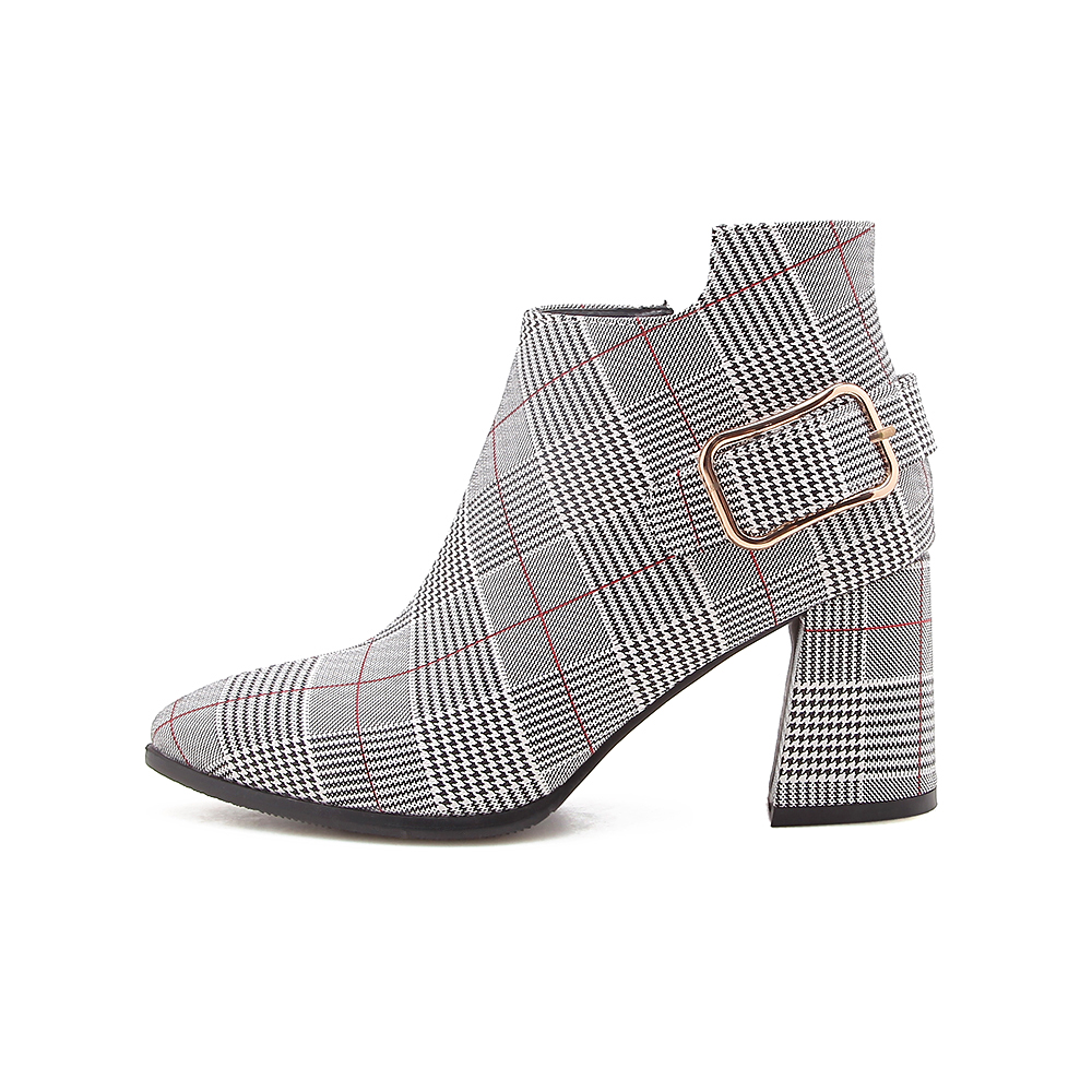 Women's Boots, Fashion Plaid Pointed Toe High Heels, Winter Ankle Boots 17