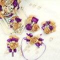 2 pces de oro hecho a mano púrpura de la boda boutonniere corsages y boutonnieres seda de la flor para los hombres del banquete de boda nupcial ramillete de la muñeca