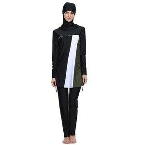 Image 4 - HAOFAN maillot de bain à rayures imprimé Hijab pour femmes, grande taille islamique, Surf, vêtements de Sport, burkina 5xl 6XL, maillot de bain musulman