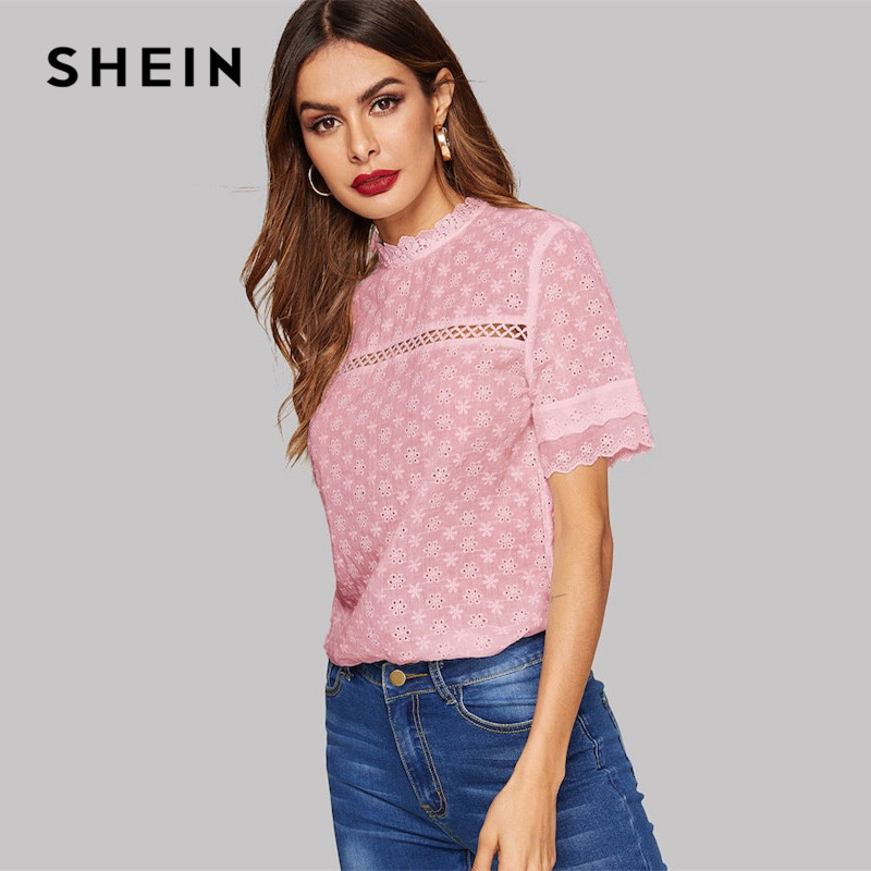 Womens Mesh Insert Floral Embroidered Shirt Button Front Collar Work Blouse Top